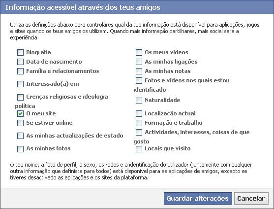 Privacidade Facebook Informação acessível através amigos
